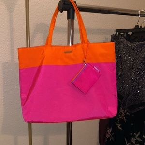 Orange and pink Clinique tote bag w/small coin bag